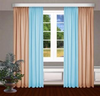Комбинированные шторы Габриэль, голубой/персиковый