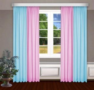 Комбинированные шторы Габриэль, голубой/розовый