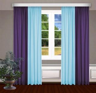 Комбинированные шторы Габриэль, голубой/фиолетовый
