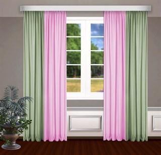 Комбинированные шторы Габриэль, розовый/фисташковый