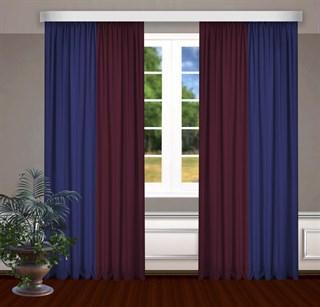 Комбинированные шторы Габриэль, синий/бордовый