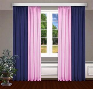 Комбинированные шторы Габриэль, синий/розовый