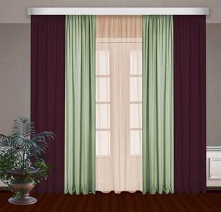 Комбинированные шторы Габриэль с тюлем, бордовый/фисташковый