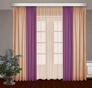 Комбинированные шторы Габриэль с тюлем, малиновый/персиковый