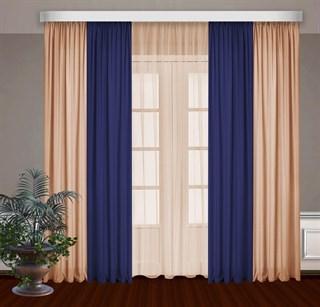 Комбинированные шторы Габриэль с тюлем, синий/персиковый