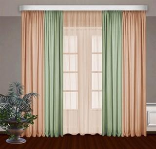 Комбинированные шторы Габриэль с тюлем, фисташковый/персиковый