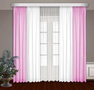 Комбинированные шторы Габриэль с тюлем, белый/розовый