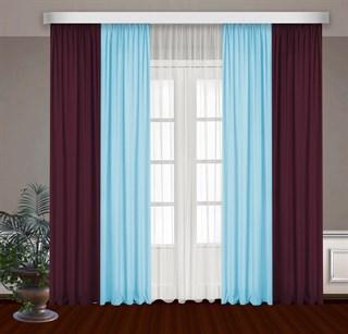 Комбинированные шторы Габриэль с тюлем, голубой/бордовый