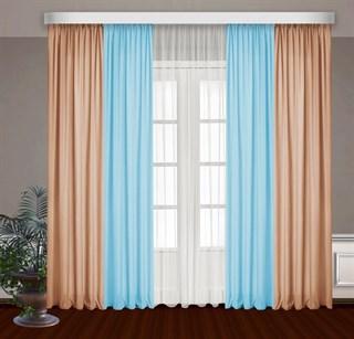 Комбинированные шторы Габриэль с тюлем, голубой/персиковый