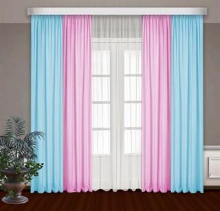 Комбинированные шторы Габриэль с тюлем, голубой/розовый