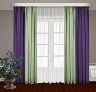 Комбинированные шторы Габриэль с тюлем, фиолет/фисташковый