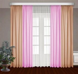 Комбинированные шторы Габриэль с тюлем, розовый/персиковый