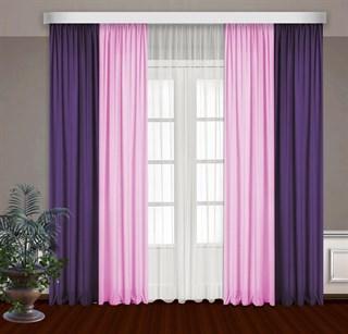 Комбинированные шторы Габриэль с тюлем, розовый/фиолетовый
