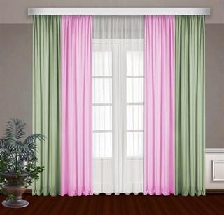 Комбинированные шторы Габриэль с тюлем, розовый/фисташковый