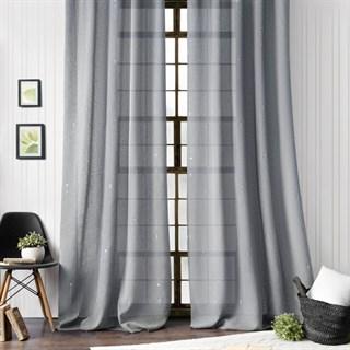 Легкие шторы с вышивкой Амми серые