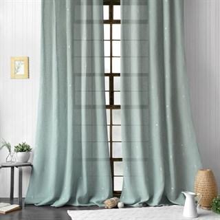 Легкие шторы с вышивкой Амми серо-голубые