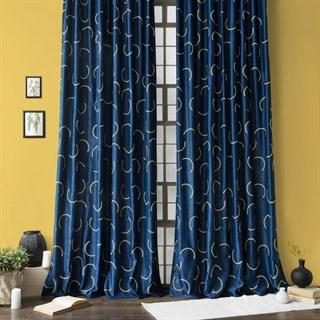 Готовые шторы Pasionaria Джим с вышивкой синие