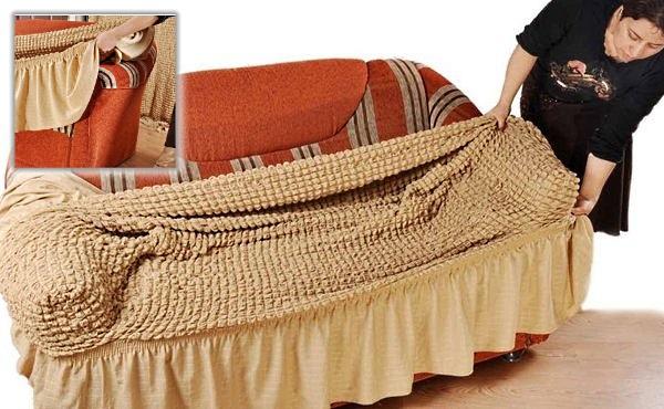 Как надеть чехол на диван? Фото
